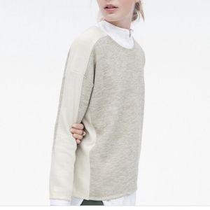 J. Crew Jaspe Gray Cream Wool Blend Sweater Sz XS